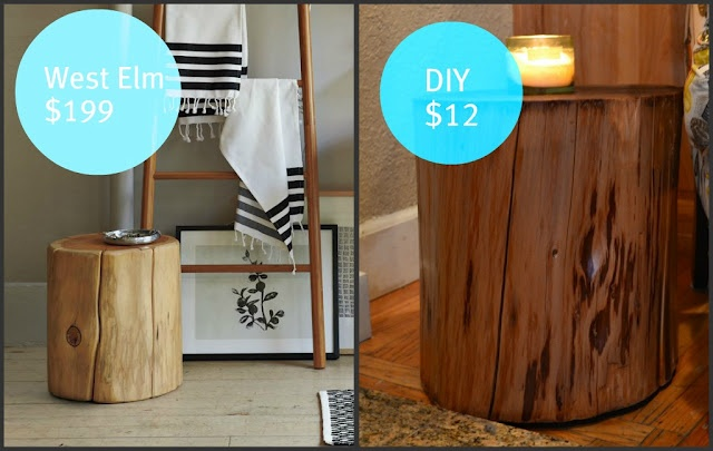 West elm tree stump table knock off diy home for Diy wood stump side table