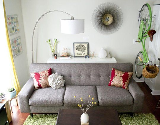 couch: Lamps, Grey Couch, Living Rooms, Bike, Gray Couch, Apartment Therapy, Apartment Idea, Small Spaces, Happy Homes
