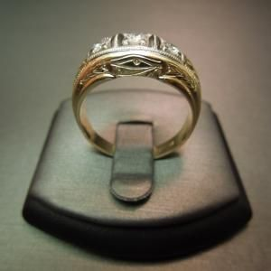 Amazing Man us Hand Engraved Gold Egyptian EYE OF HORUS Diamond Ring Constructed of KT Yellow Gold