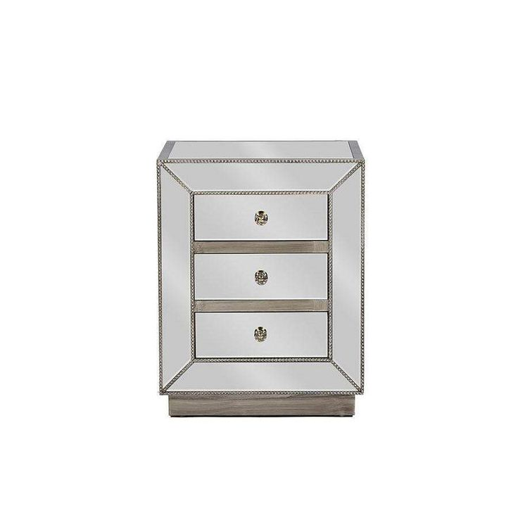 Baxton Studio Currin Contemporary Mirrored 3-Drawer Nightstand - RS2102
