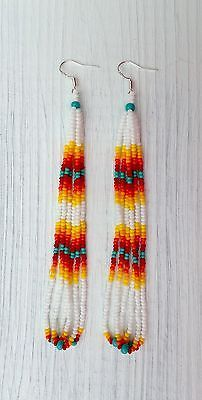 """Native American Style 4"""" White Looped Beaded Earrings Sterling Silver"""