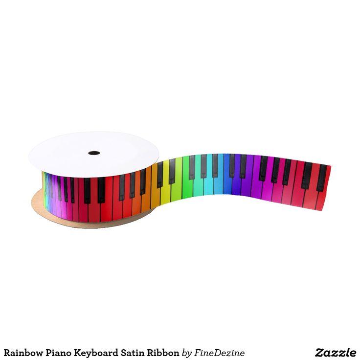 Rainbow Piano Keyboard Satin Ribbon