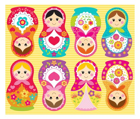 matryoshka_doll_fabric by littledemouradesigns - Vintage