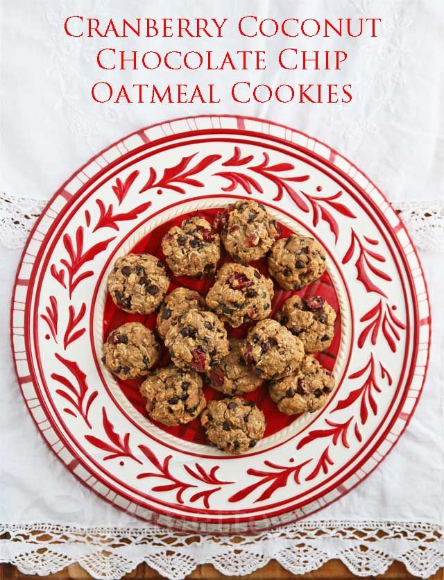 Cranberry Coconut Chocolate Chip Oatmeal Cookies © Jeanette's Healthy ...