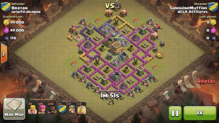 Attacker TH7: 15 Level 4 Archer, 5 Level 4 Barbarian, 33 Level 2 Hog Rider, 1 Level 3 Dragon, Level 5 Barbarian King, 3 Level 4 Healing Spell Defender TH8: Level 1 Barbarian King, Rank 5/20