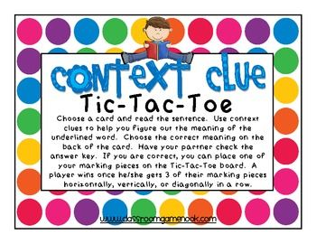 Context Clue Tic-Tac-Toe Game {Freebie} - Rachael Parlett - TeachersPayTeachers.com