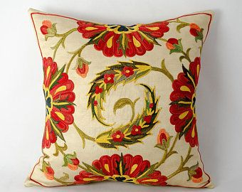 Suzani pillow cover, Very beautiful work of craftsmanship 12x12 size suzani pillow cover, fully hand made silk embroidery on silk foundation