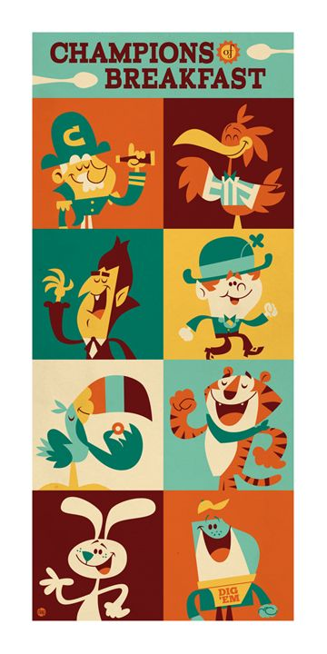 Champions of Breakfast  by ~Montygog: Breakfast, Food, Illustration, Design, Kid, Dave Perillo