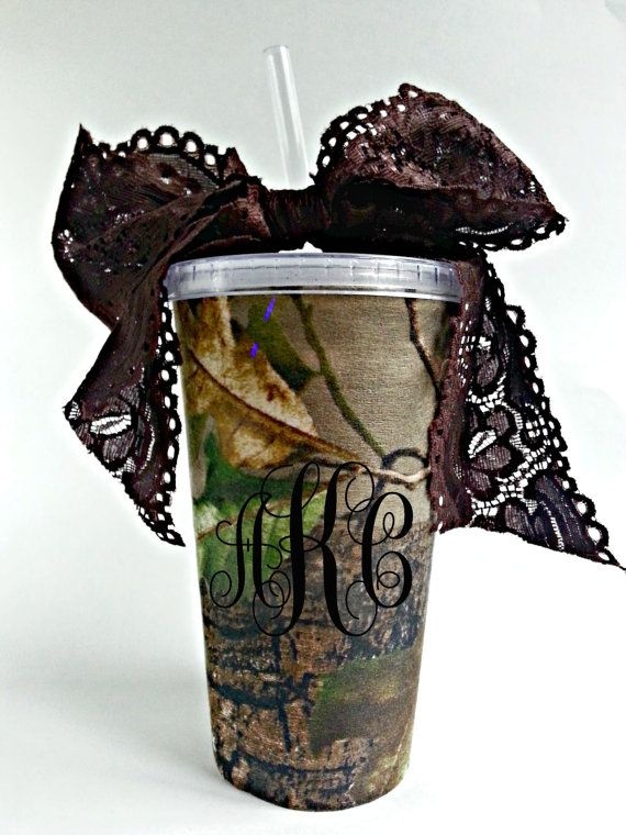 Item Details (2) Shipping & Policies The Monogrammed Real Tree Camo Tumbler is double insulated and customized to your initials, and is also great for gifts. The Real Tree camo insert is removable for washing Tumbler! It includes a Pretty Lace Ribbon to accent your look this season! At check out Please inform me of vinyl color, and initials! (Please put initials for monogram in the order you want them to appear).