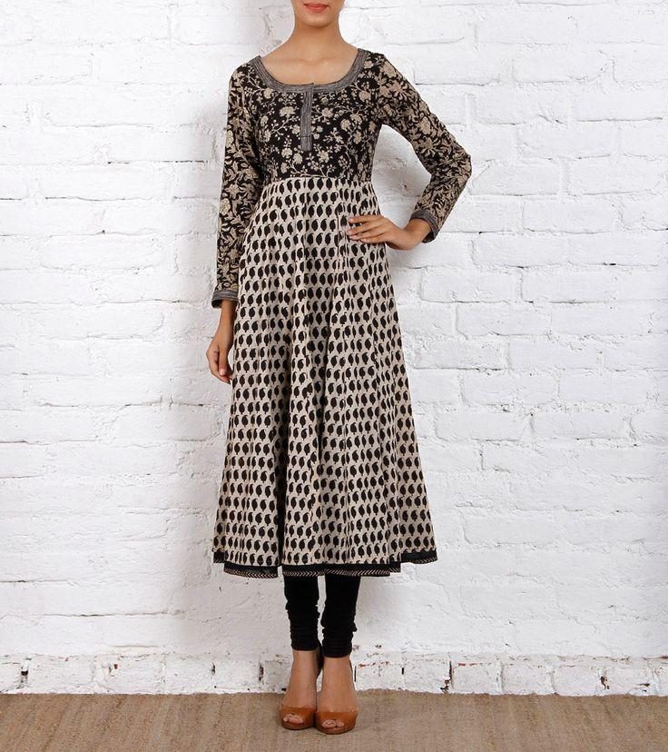 Black Printed Cotton & Silk Anarkali Kurta