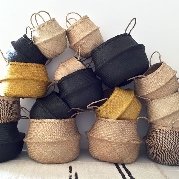 Versatile hand made Eco SEAGRASS BASKETS in Turmeric are perfect for indoor plants, kids toys or bathroom storage & weekend visits to the beach or markets.