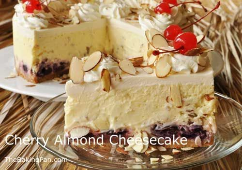 Cherry Almond Cheesecake Recipe | TheBakingPan.com ---- TONS of fun recipes for holiday's, etc. ~R.