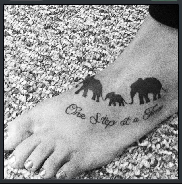 My elephant tattoo :)   I think all three of us should get the same tat :) What do you think???