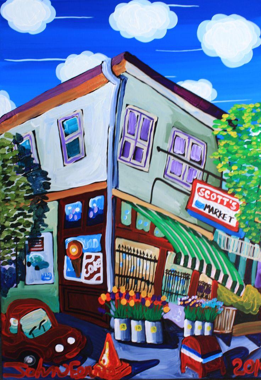 "Scott's Market, 28"" x 40"", acrylic on canvas with KRink, 2014"