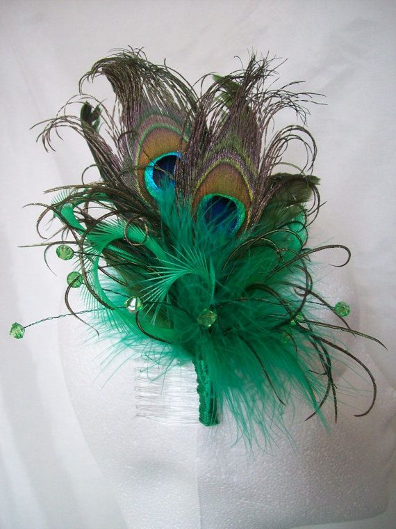 Emerald Green Peacock Feather Hair Comb - by Indigo Daisy Wedding, $28.00, via Etsy.