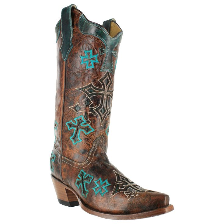 Boots+for+Women   Corral Whiskey Cross Inlay Snip Toe Western Boots For Women » Amoqo