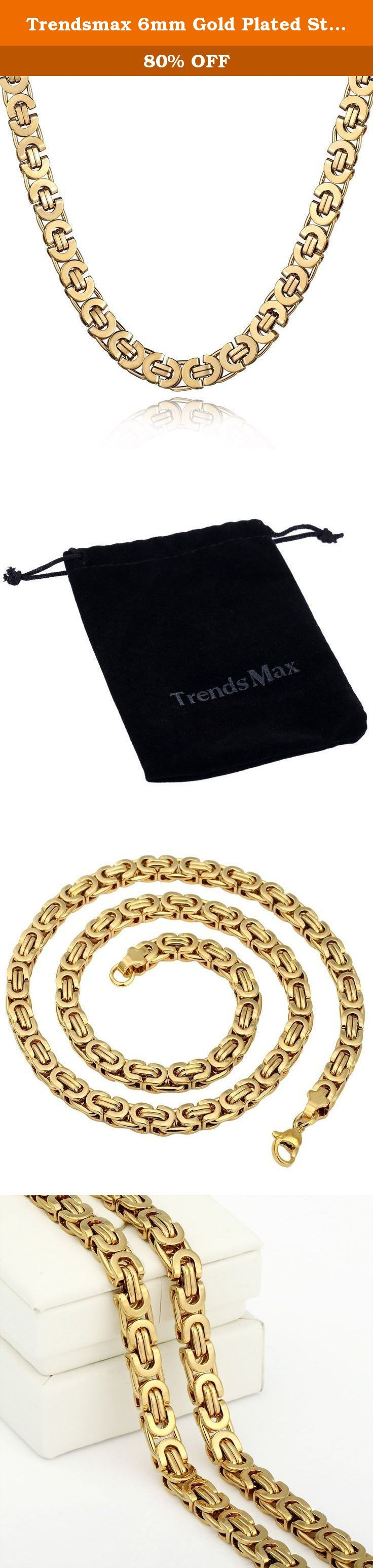 Trendsmax 6mm Gold Plated Stainless Steel Mens Chain Necklace Flat Byzantine Link for Men Boy Length 18-36 inch. Material: Stainless Steel. Come With a Trendsmax Bag. Measurement: Length:18-36inch Width:6mm. Mens Chain Boys Necklace Jewelry, Please check the dropdown menu to see more length option. Thanksgiving, Christmas, Birthday, Graduation, Back to School Gift.