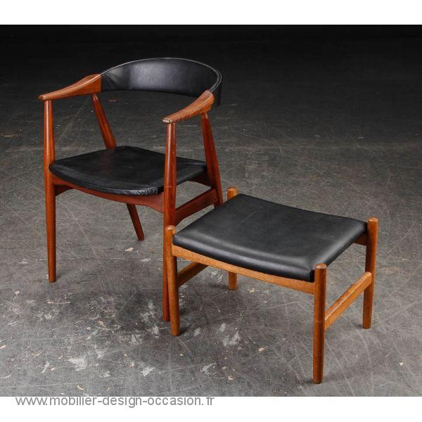 fauteuil chaise de bureau avec son ottoman, super design scandinave