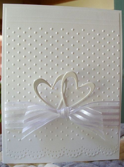 Simple elegance... wedding, anniversary. Could use silver heart embellishments and lightly colored ribbon as well
