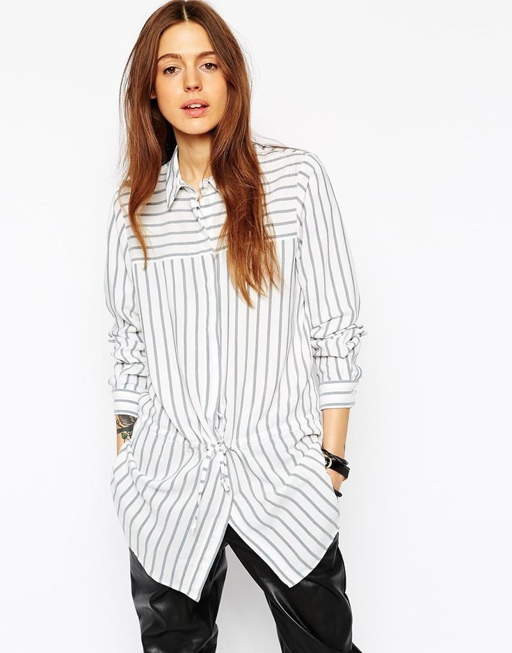Image 1 ofASOS Drawstring Stripe Blouse