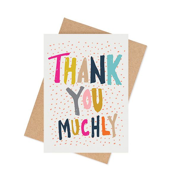 """""""Thank You Muchly"""" cardA6 size (when folded) (5.8 x 4.1 inches) Blank InteriorPrinted on a matte 350 GSM white card packaged in a cello sleeve with a natural 100% recycled paper envelope. The card stock is produced with ECF pulp and is FSC Mix Certified.MA and GRANDY cards are designed and printed in Brisbane, Australia.Your order will be sent in a padded bag via Australia Post. Please allow 5-7 business days for delivery."""