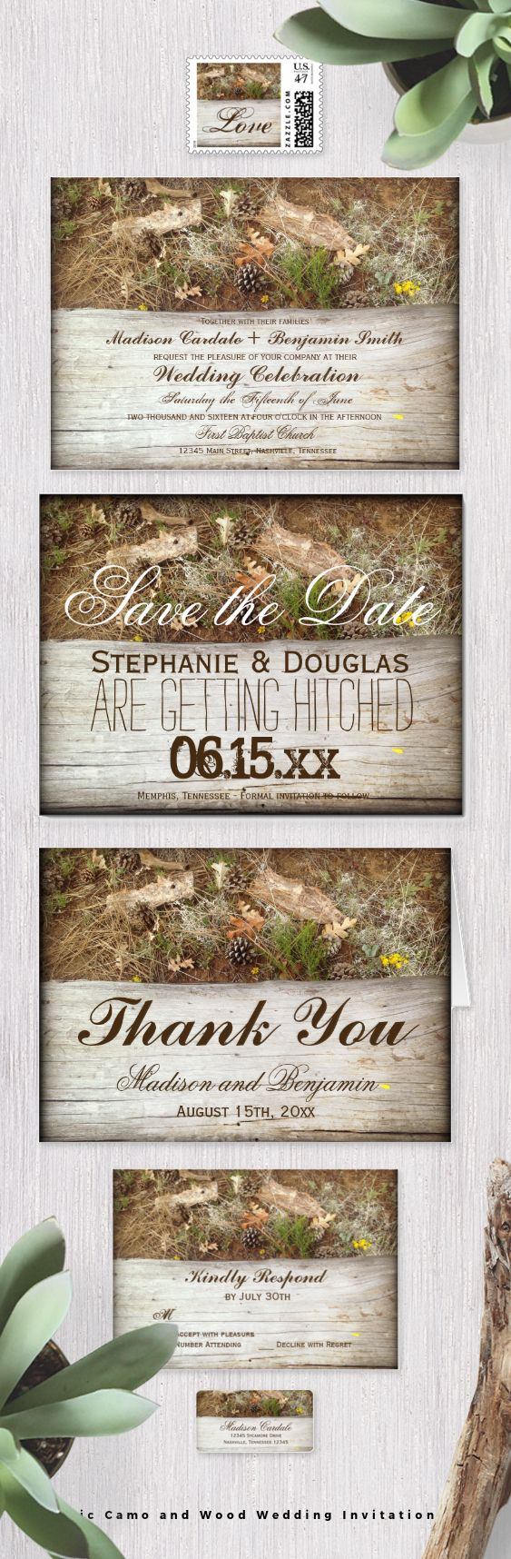 Rustic Country Camo and Wood Wedding Invitation Set for a hunting theme or nature theme wedding.  #camowedding