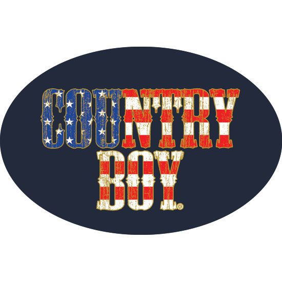 "6"""" x 4"""" Oval Bumper Sticker - Country Boy USA Flag"