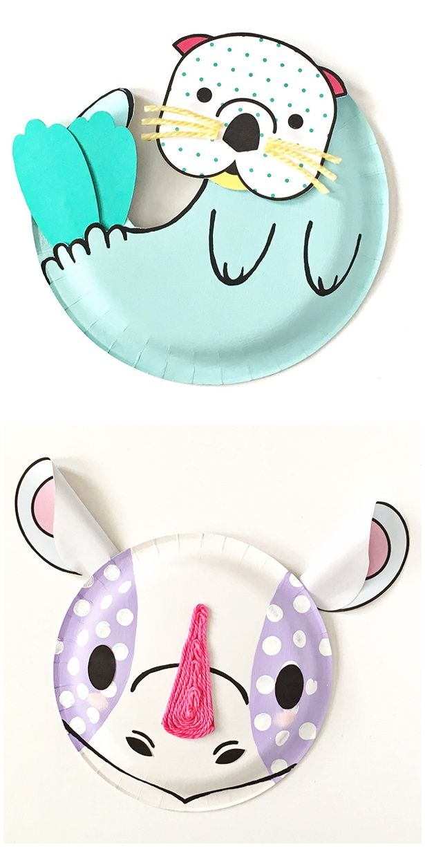 Rhino and Sea Otter Animal Paper Plate Craft for Kids with Free Printable template.