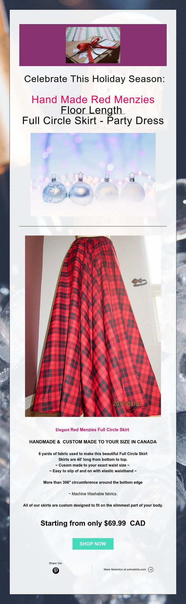 Celebrate This Holiday Season:    Hand Made Red Menzies  Floor Length  Full Circle Skirt - Party Dress