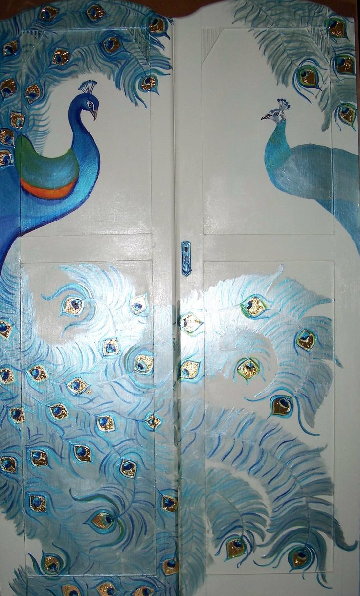 recycled wardrobe doors with peahen and peacock, using pearl paints