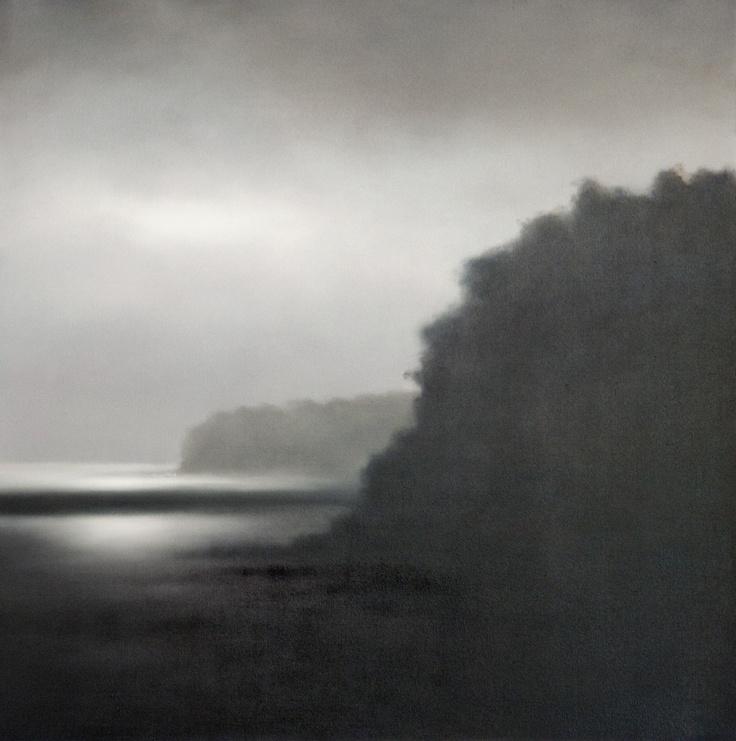 Australian Landscape Artist, Darren Gannon, 'Headland' oil on canvas at www.darrengannon.com - muted, monotone, atmospheric, blurry landscapes