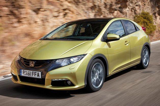 2012 Honda Civic hatchback - front three-quarter view, dynamic