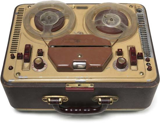Reel to Reel Player/Recorder. While in the Navy. my brother sent a stereo & recorder like this home.  We thought it was so exotic!