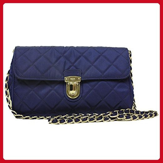 Prada Royal Blue Tessuto Pattina Quilted Nylon Leather Chain Shoulder Bag  BP0584 - Shoulder bags (