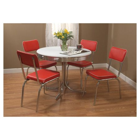 Found It At Wayfair   Retro 5 Piece Dining Set With Red Padded Vinyl Chairs