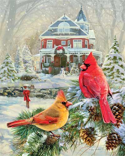 Cardinal Holiday Retreat | 1000 Piece Jigsaw Puzzle