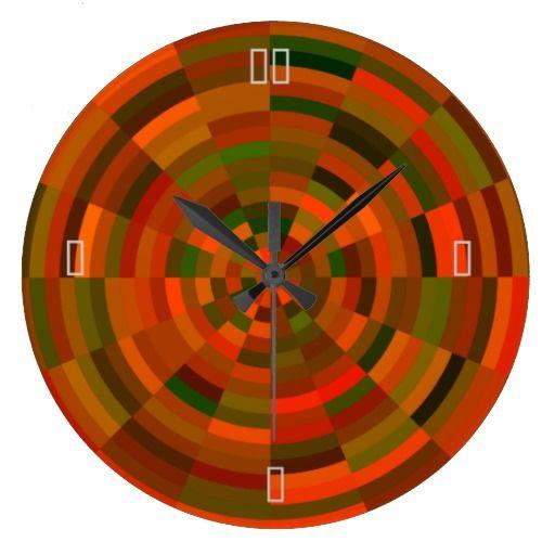 Orange /Green Multiclored Bullseye >Wall clock