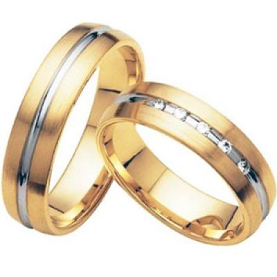 Обручальные кольца Rings-023 из желтого золота с 5 бриллиантами - Ювелирная мастерская ArtemGold