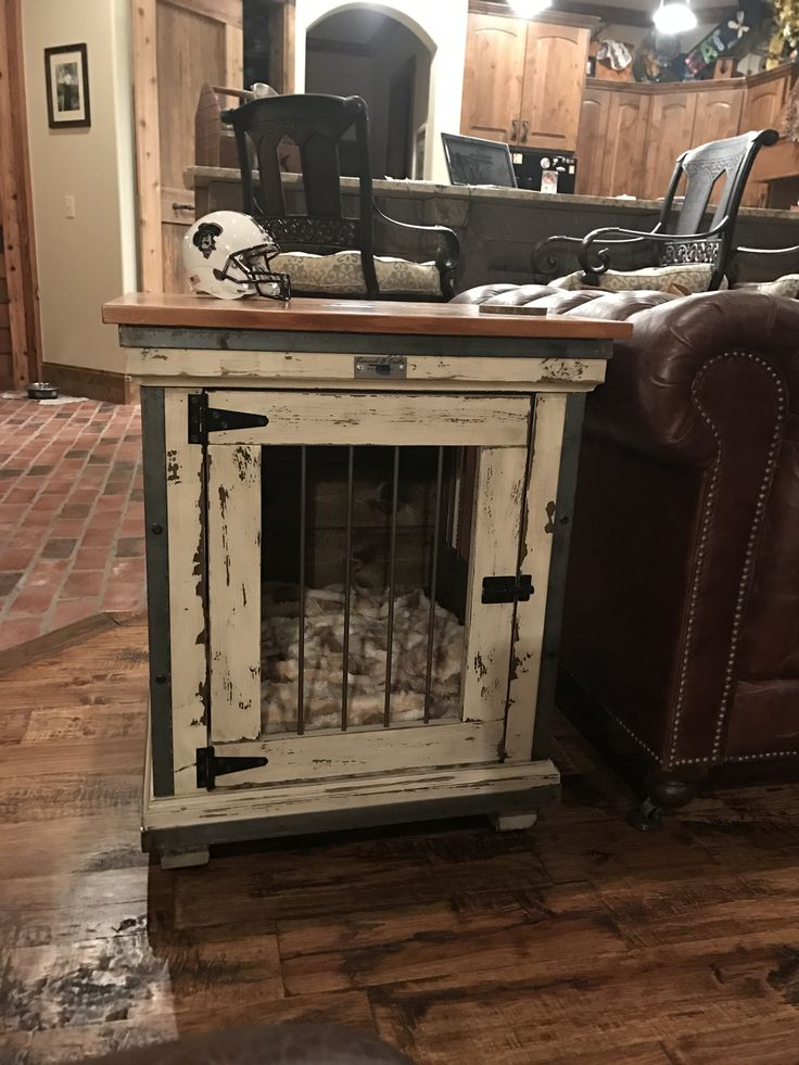 Urban Farmhouse meets industrial single dog kennel. Top includes reclaimed lumber from an old farmhouse in Oklahoma.  Perfect fit for a toy breed dog.