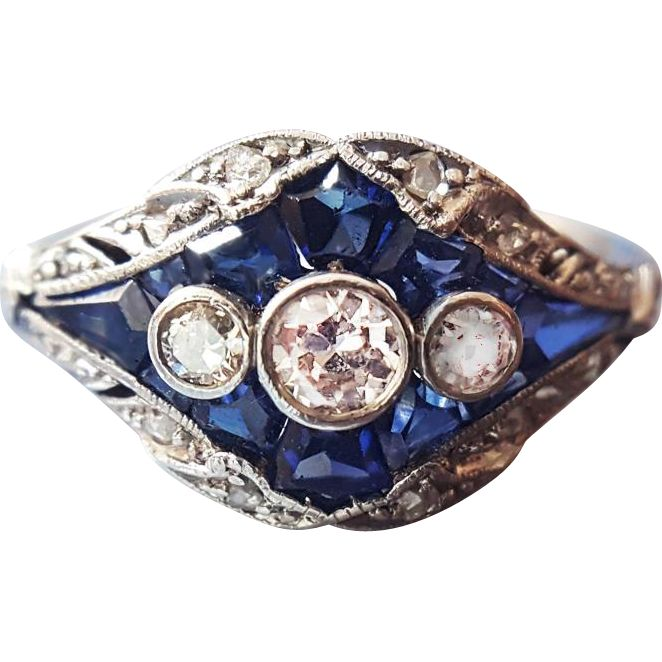 Antique Edwardian Sapphire and Diamond Trilogy Engagement Ring Band in 950 Platinum sz 6 3/4