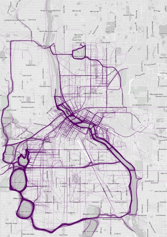 Where people run in Minneapolis (Nathan Yau)