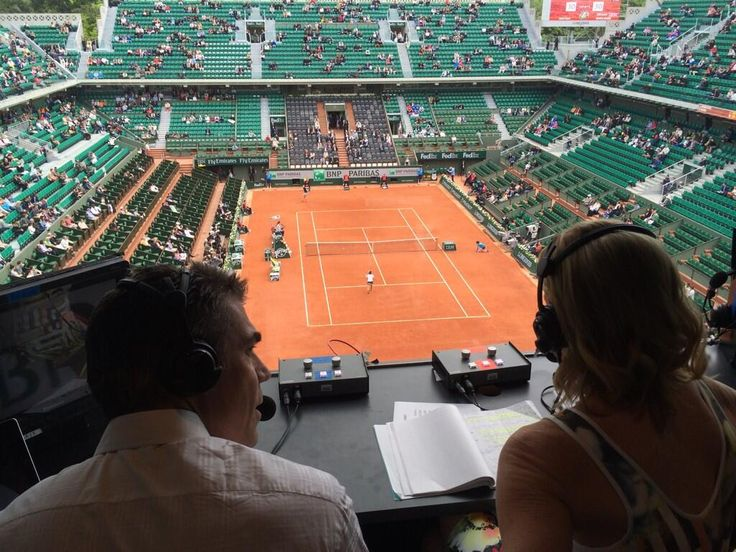 View from the ESPN2 booth. Chris Fowler & @ChrissieEvert live on day 5 in Paris. All 7 match courts on E3/WatchESPN. via Darren Cahill on Twitter 20140529 #RolandGarros