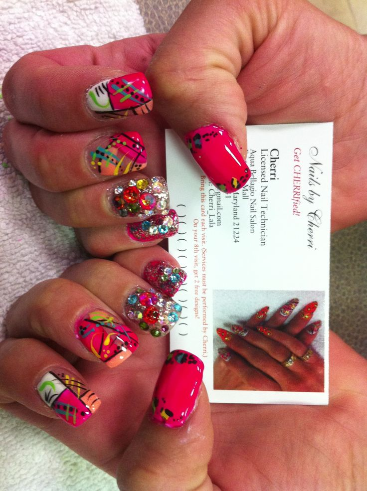 colorful nail design with rhinestone