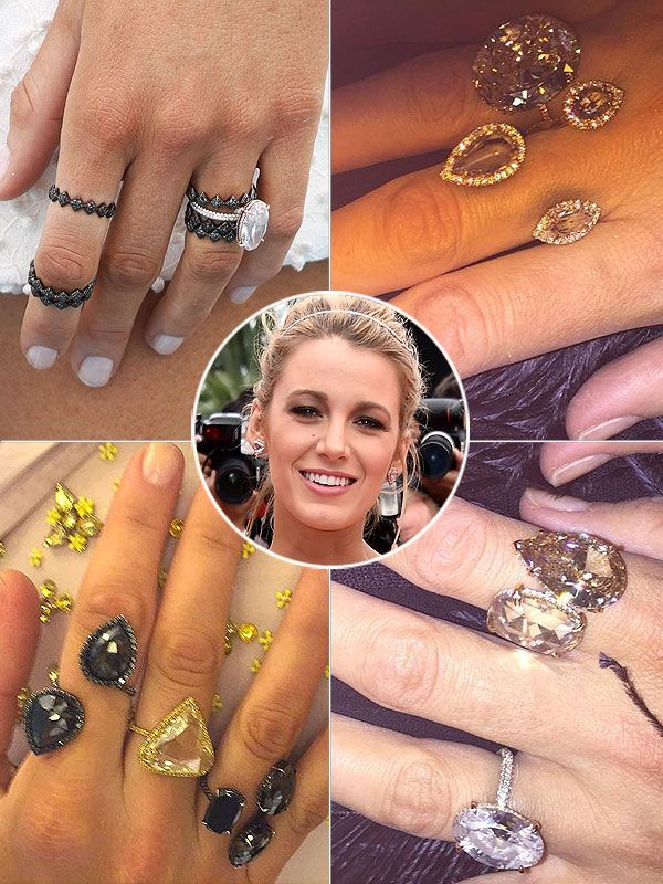 Blake Lively (B)Rings It Lorraine Schwartz made Blake's OG giant diamond ring (that would be her engagement sparkler) and the star's been loyal to the designer's rings ever since. For her many Cannes red carpet moments, Blake has layered up the finger bling – jewels so large they look like costume pieces, but with price tags that prove they're 100 percent authentic.