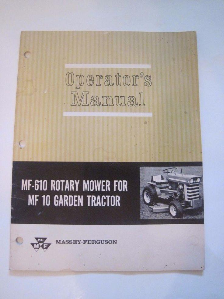 Vintage Massey-Ferguson MF-610 Rotary Mower MF10 Garden Tractor Operators Manual #MasseyFerguson