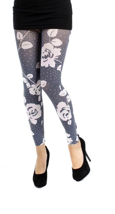 Black/White Rose Printed Footless Tights - Pamela Mann