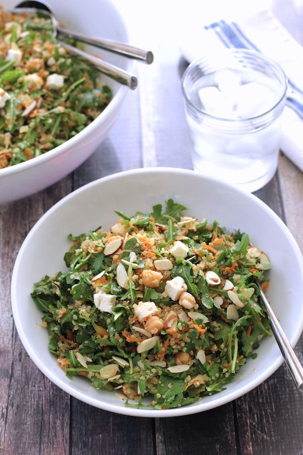 Quinoa Salad with Chickpeas, Arugula, Feta and Almonds. A light but filling salad featuring quinoa, chickpeas, arugula, feta and almonds. Tossed in a lemony dressing.