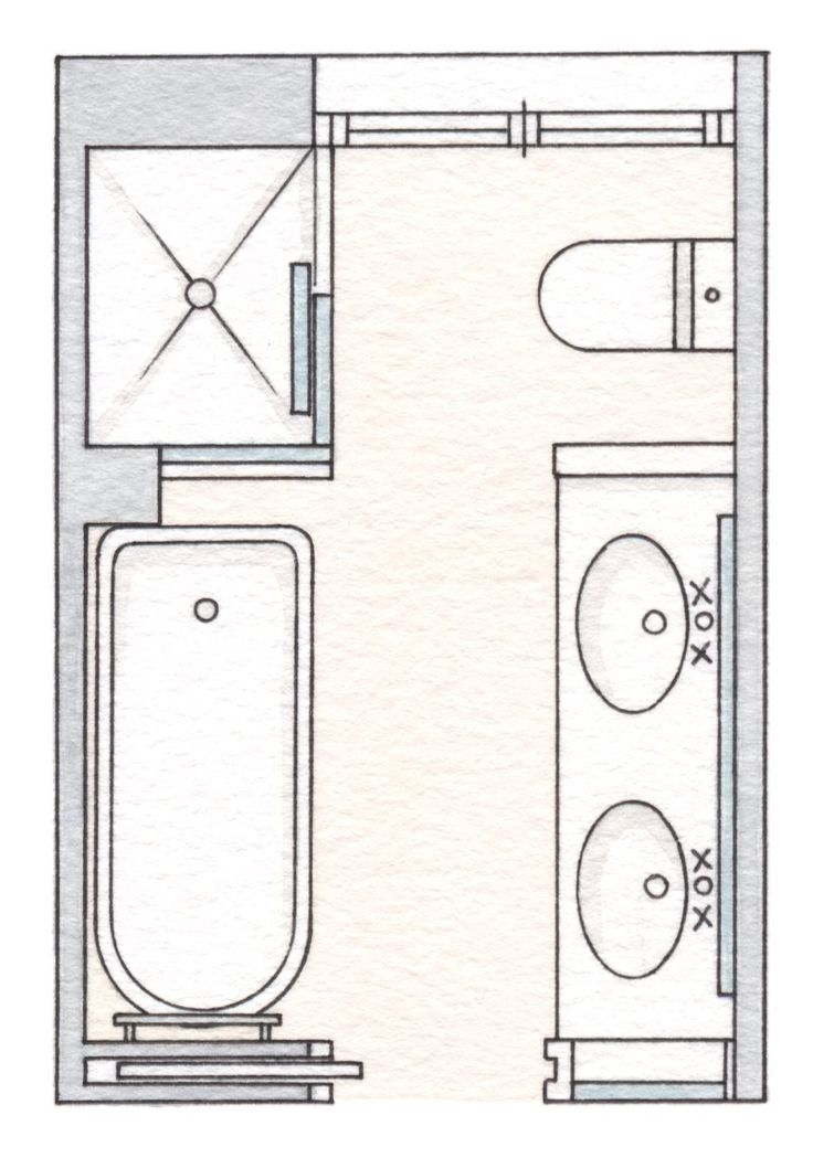 Ba os pr cticos hasta el ltimo cent metro for Plano de pieza cocina y bano