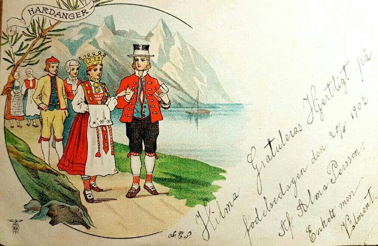 Bunadskort Bryllup i Hardanger brukt 1902
