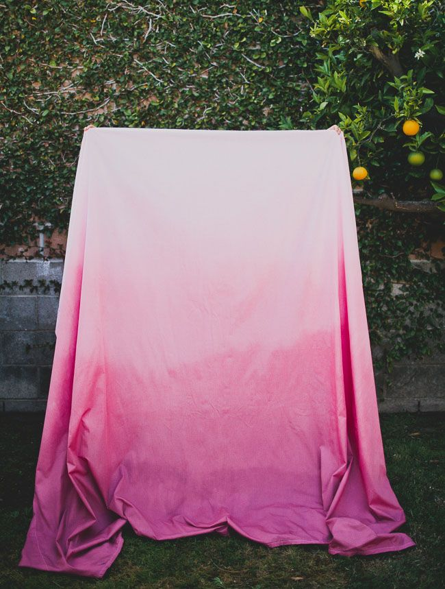 DIY: ombre dyed tablecloth  Hmmmmm @Christina Ivanoff @Maegan Sauble think we could do this?? Turquoise to purple? Not sure where we would use them.... Maybe the sweet heart table, and cake and gift tables?